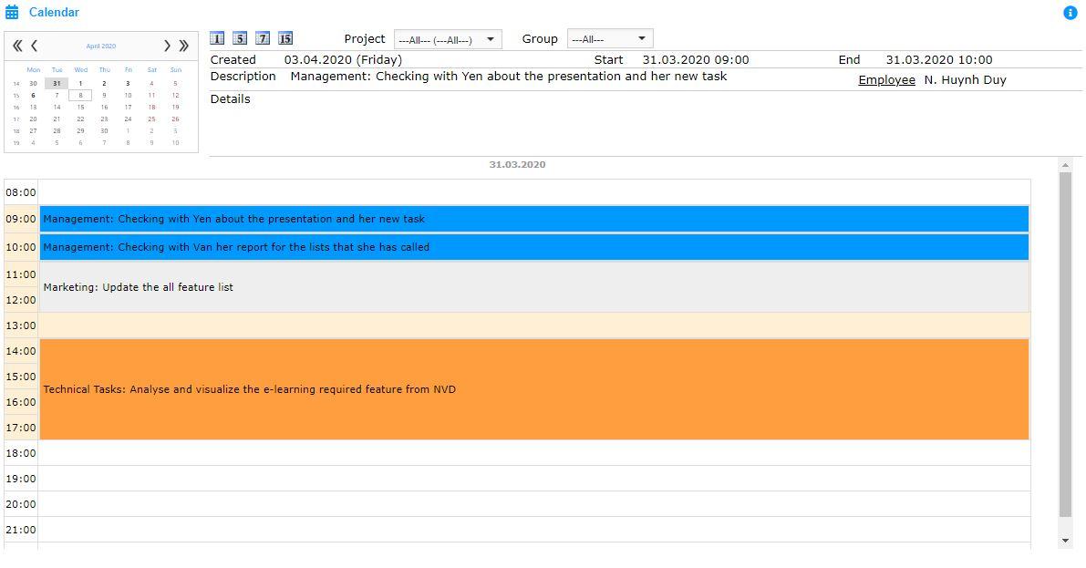 AtemisCloud | 1.CRM | Calendar