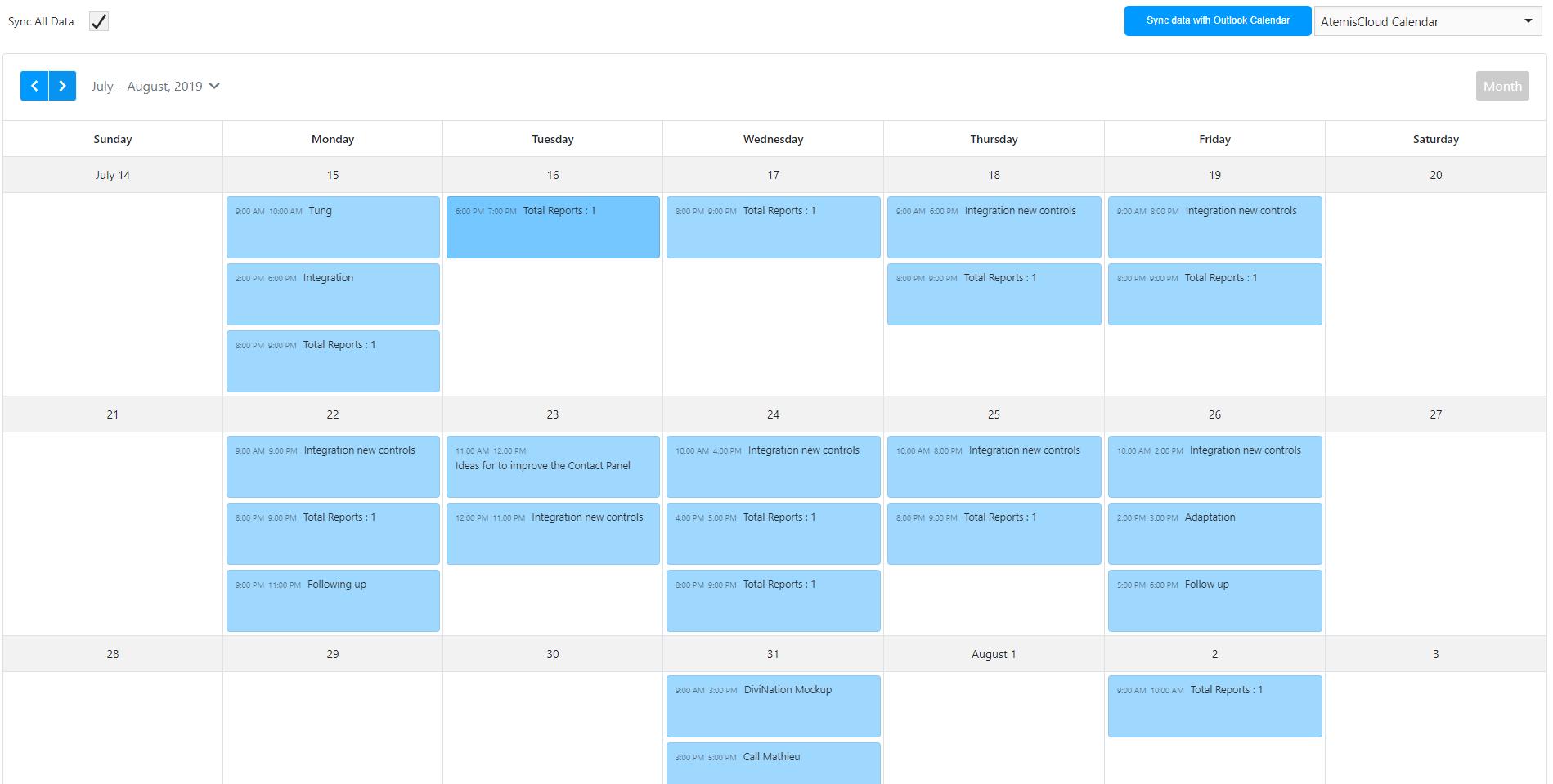 AtemisCloud | 3.Administration | Outlook Calendar Synchronization